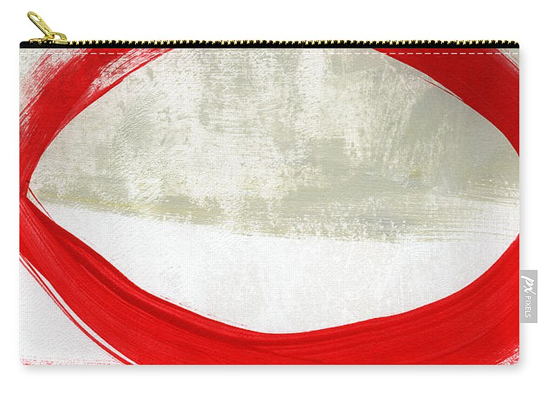 Red Carry-all Pouch featuring the painting Red Circle 4- Abstract Painting by Linda Woods