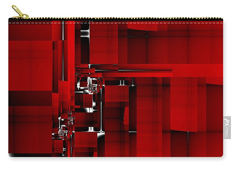 Fractal Carry-all Pouch featuring the digital art Red Construction I by Richard Ortolano