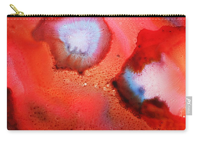 Red Carry-all Pouch featuring the painting Red Cosmos by Nancy Merkle