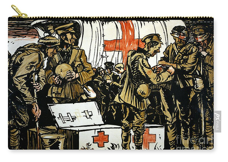 1915 Carry-all Pouch featuring the photograph Red Cross Poster, 1915 by Granger