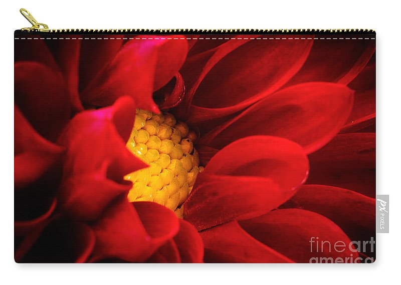 Bloom Carry-all Pouch featuring the photograph Red Dahlia by Joe Mamer