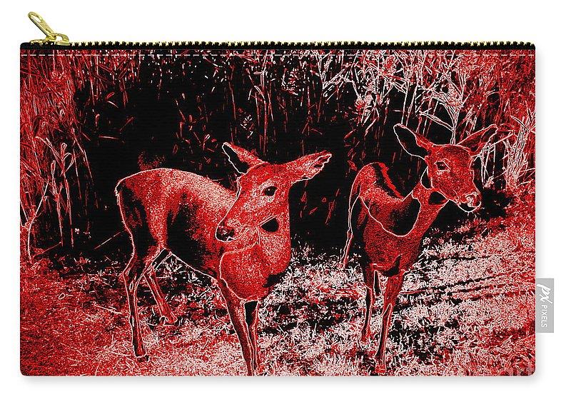 Pop Art Carry-all Pouch featuring the photograph Red Deer by Ed Weidman