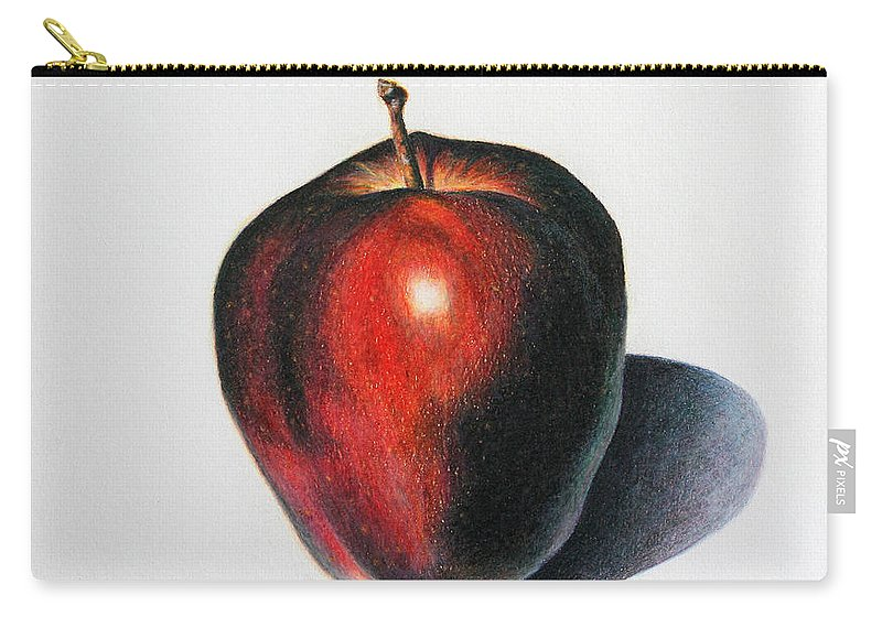 Apple Carry-all Pouch featuring the drawing Red Delicious Apple by Marna Edwards Flavell
