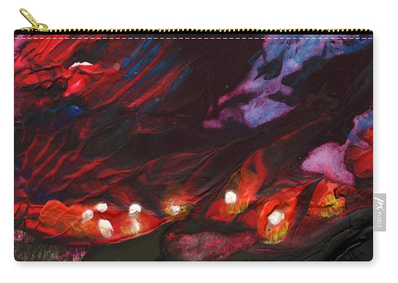 Fantasy Carry-all Pouch featuring the painting Red Demon With Pearls by Miki De Goodaboom