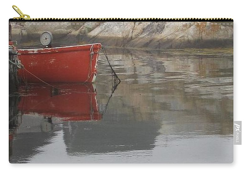 Dinghy Carry-all Pouch featuring the photograph Red Dinghy by Jennifer Wheatley Wolf