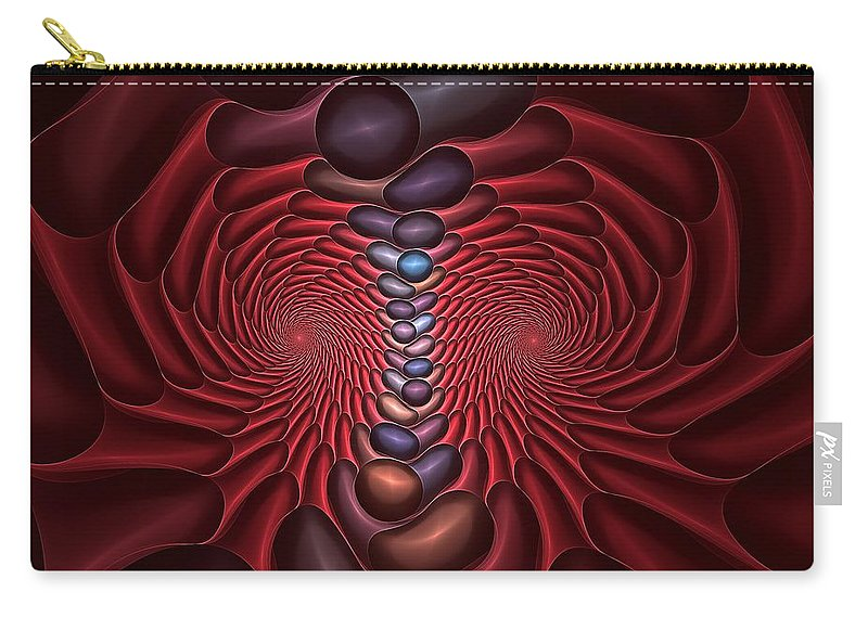 Red Dragon Carry-all Pouch featuring the digital art Red Dragon Fractal by Doug Morgan