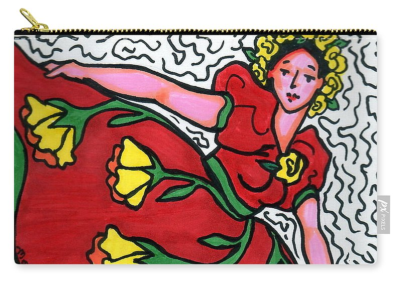 Dancer Carry-all Pouch featuring the painting Red Dress With Yellow Roses by Monique Montney