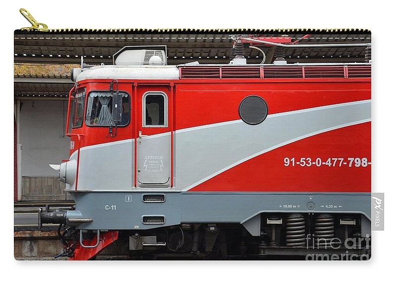 Train Carry-all Pouch featuring the photograph Red Electric Train Locomotive Bucharest Romania by Imran Ahmed