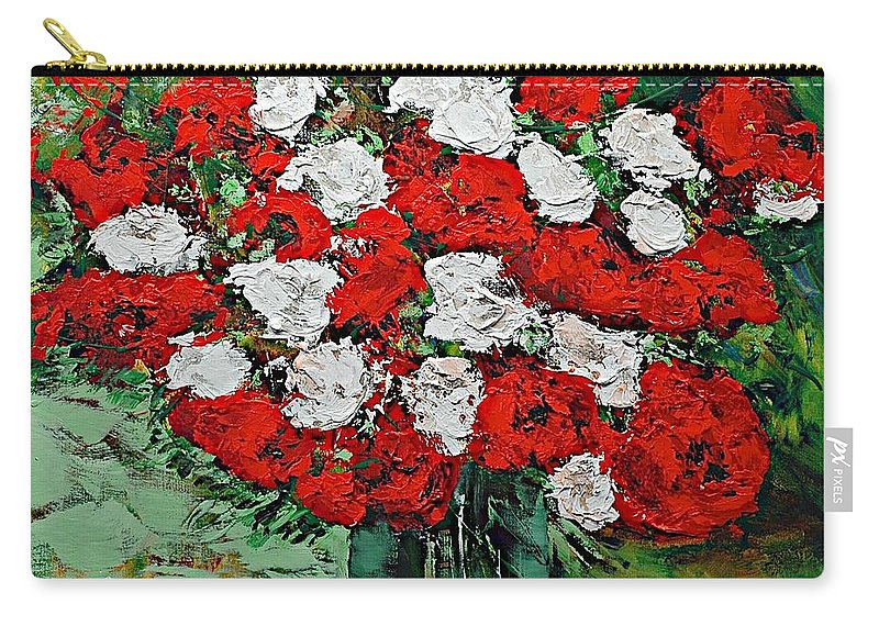 Landscape Carry-all Pouch featuring the painting Red Explosion by Allan P Friedlander