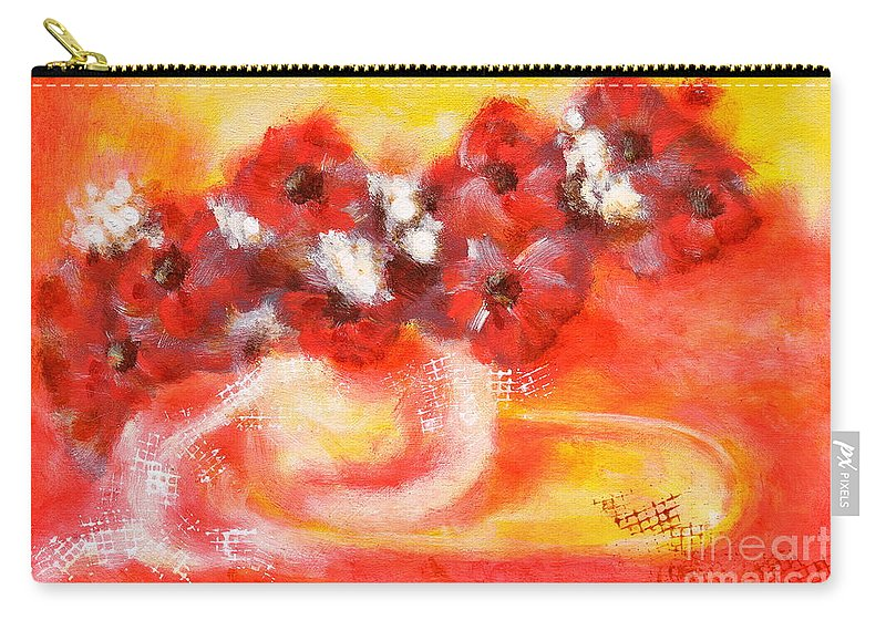 Flower Carry-all Pouch featuring the painting Red Flower Bouquet by Martin Capek