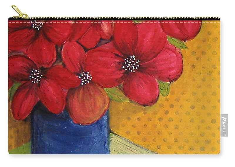Red Flowers Carry-all Pouch featuring the painting Red Flowers In A Blue Vase by Lee Owenby