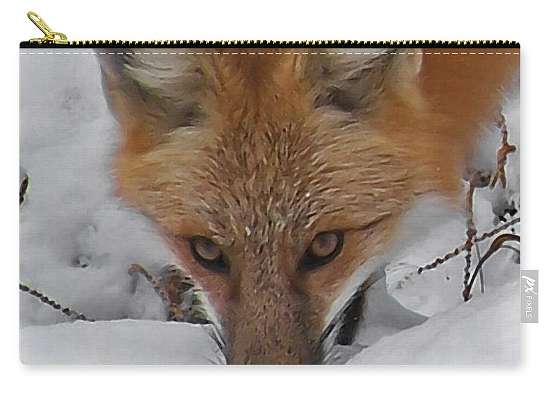 Animals Carry-all Pouch featuring the digital art Red Fox Upclose by Ernie Echols