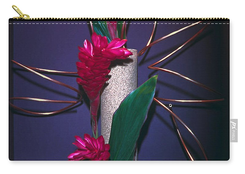 Red Ginger Floral Arrangement Carry-all Pouch featuring the photograph Red Ginger by Sally Weigand