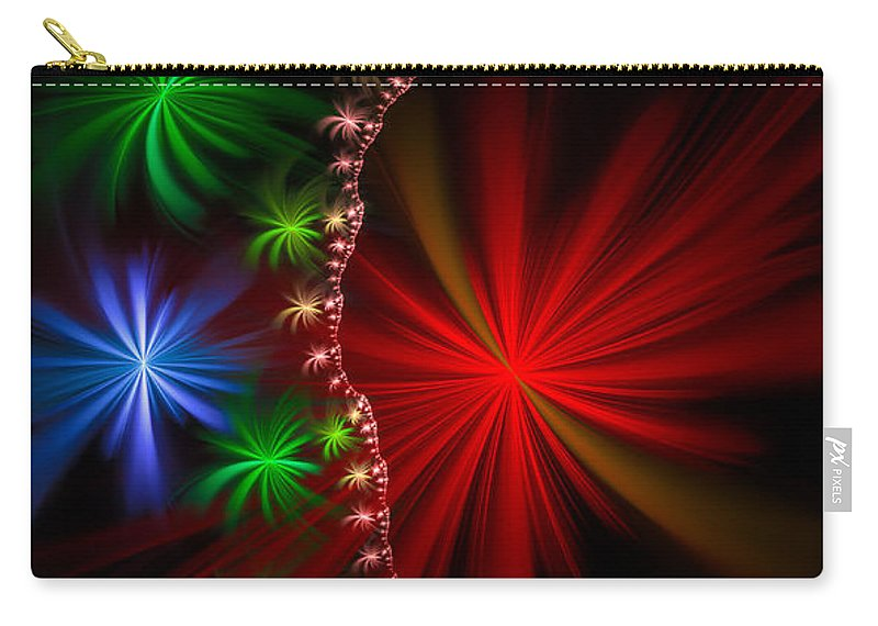 Red Carry-all Pouch featuring the digital art Red Green And Blue Fractal Stars by Matthias Hauser