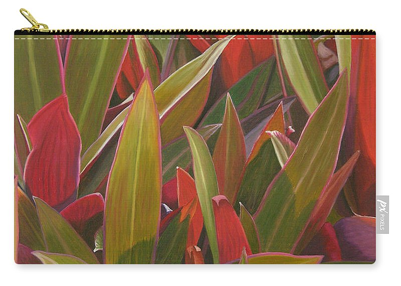 Plants Carry-all Pouch featuring the painting Red Green And Purple by Thu Nguyen