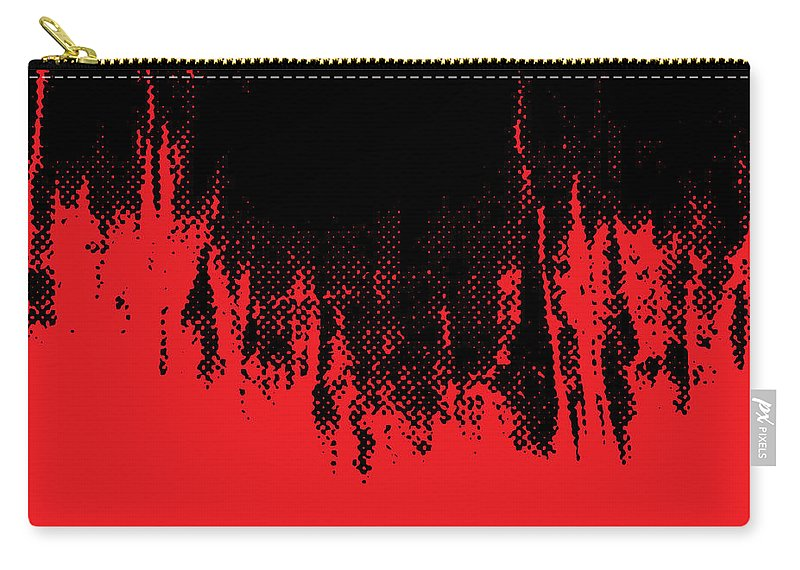 Red Carry-all Pouch featuring the digital art Red Halftone 1 by Linda Hoey