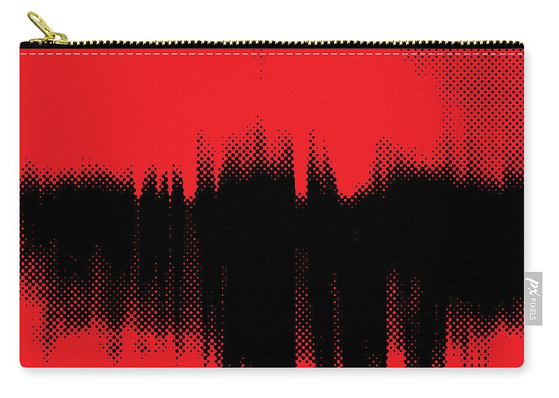 Red Carry-all Pouch featuring the digital art Red Halftone 2 by Linda Hoey