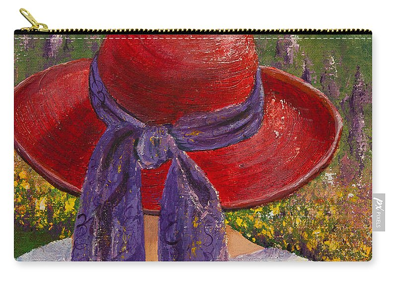 Red Hat Society Carry-all Pouch featuring the painting Red Hat Garden by Margaret Bobb