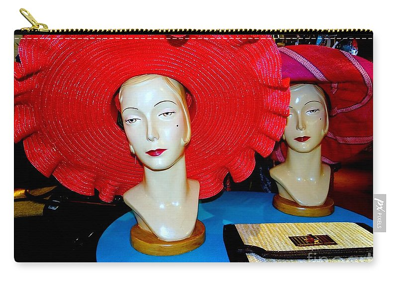 Mannequins Carry-all Pouch featuring the photograph Red Hats by Ed Weidman
