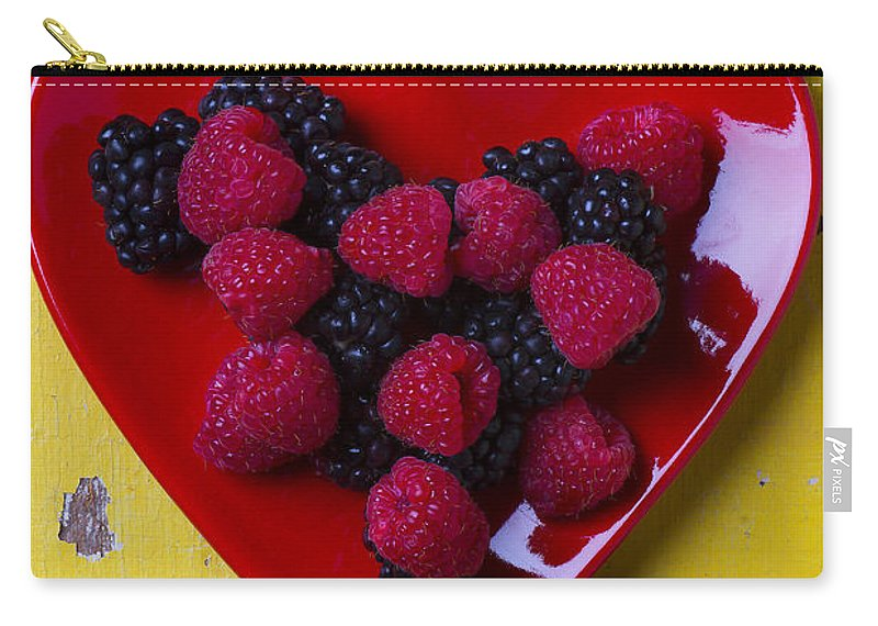 Red Carry-all Pouch featuring the photograph Red Heart Dish And Raspberries by Garry Gay