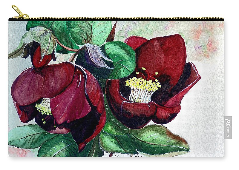 Red Helleborous Painting Flower Painting  Botanical Painting Watercolor Painting Original Painting Floral Painting Flower Painting Red Painting  Greeting Painting Carry-all Pouch featuring the painting Red Helleborous by Karin Dawn Kelshall- Best