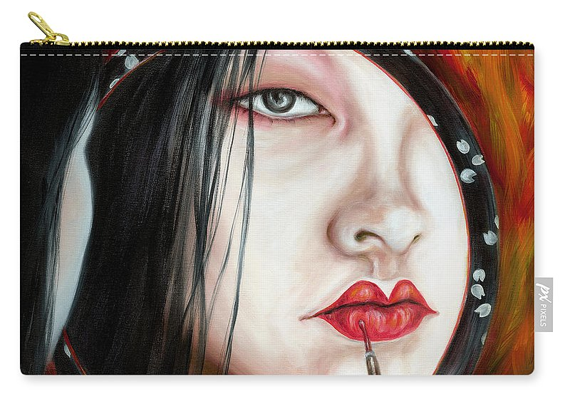 Japanese Woman Carry-all Pouch featuring the painting Red by Hiroko Sakai