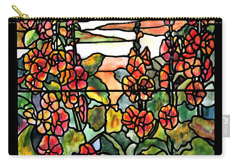 Stained Glass Carry-all Pouch featuring the painting Stained Glass Tiffany Red Hollyhocks In Landscape In Watercolor by Donna Walsh