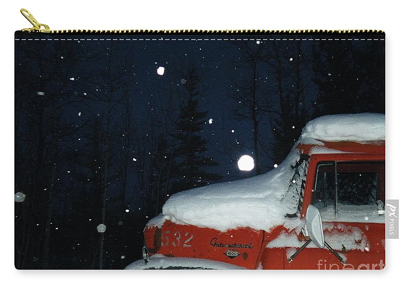 Red Carry-all Pouch featuring the photograph Red International Singing Those Deep Winter Blues by Brian Boyle
