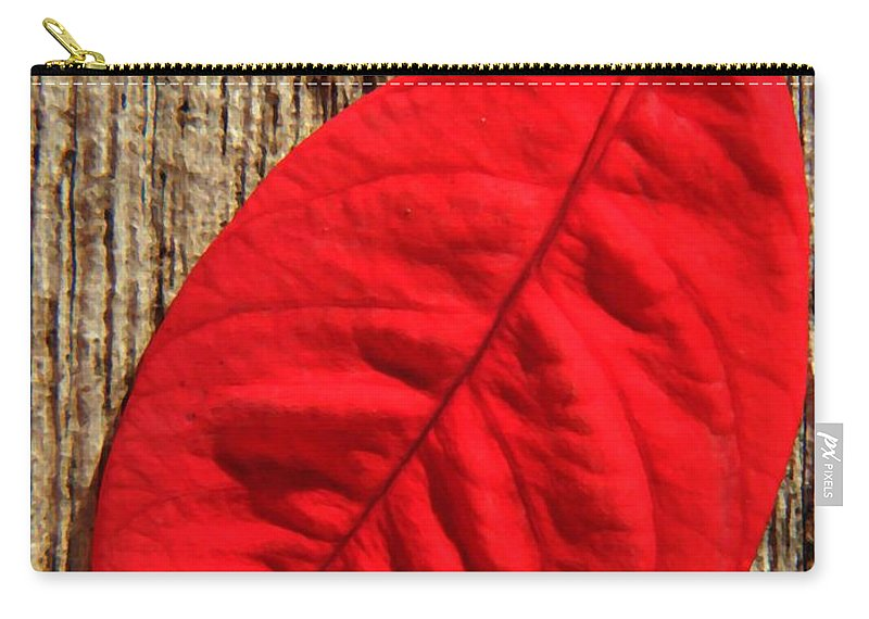Foliage Carry-all Pouch featuring the photograph Red Leaf by Chris Berry