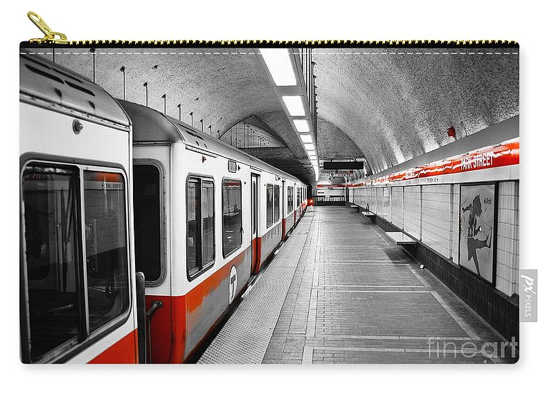 Red Carry-all Pouch featuring the photograph Red Line by Charles Dobbs
