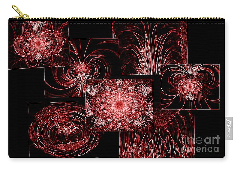 Red Carry-all Pouch featuring the photograph Red Neon Collage by Barbara Griffin