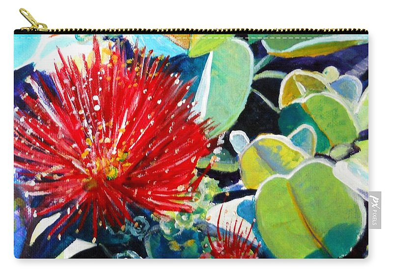 Hawaiian Flower Carry-all Pouch featuring the painting Red Ohia Lehua Flower by Marionette Taboniar