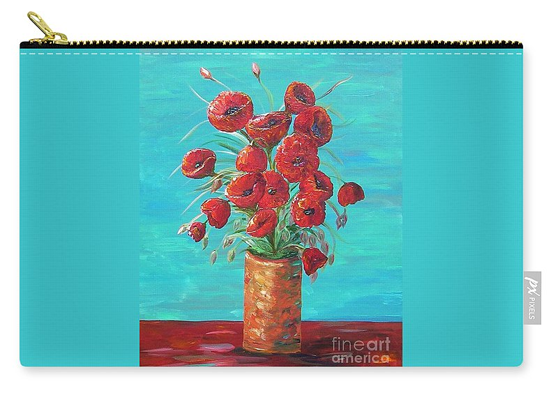 Poppy Carry-all Pouch featuring the painting Red On My Table by Eloise Schneider