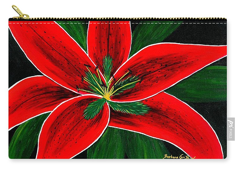 Red Oriental Lily Carry-all Pouch featuring the painting Red Oriental Lily by Barbara Griffin