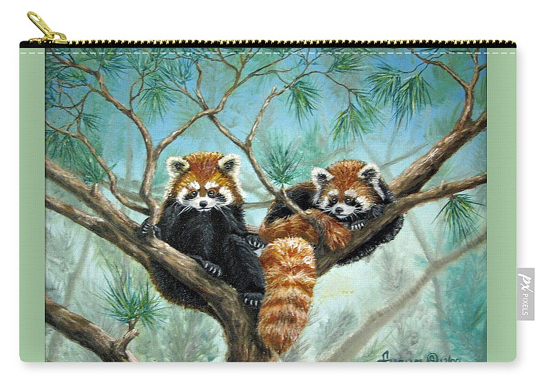 The Other Panda Carry-all Pouch featuring the painting Red Pandas by Beverly Fuqua