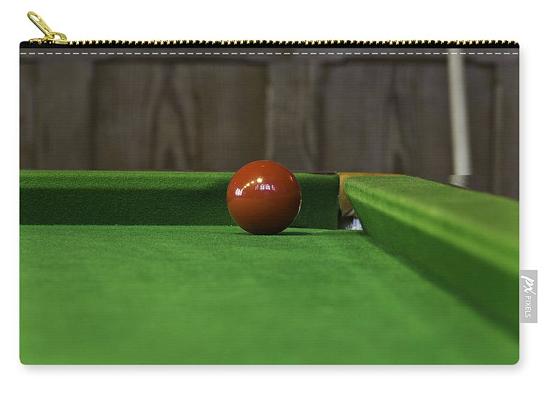 Corner Hole Carry-all Pouch featuring the photograph Red Pool Ball On A Pool Table by Ashish Agarwal