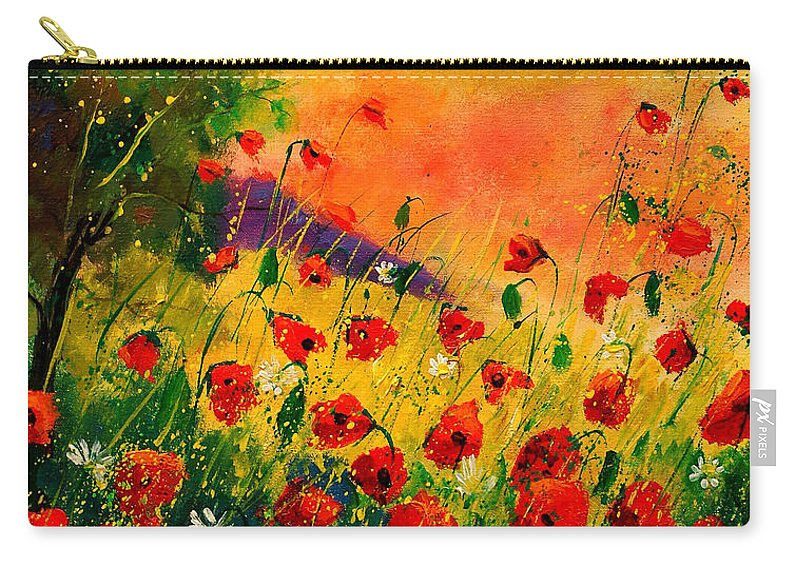 Poppies Carry-all Pouch featuring the painting Red Poppies 45 by Pol Ledent