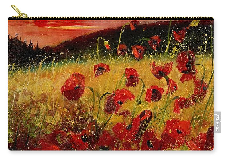 Poppies Carry-all Pouch featuring the painting Red Poppies And Sunset by Pol Ledent