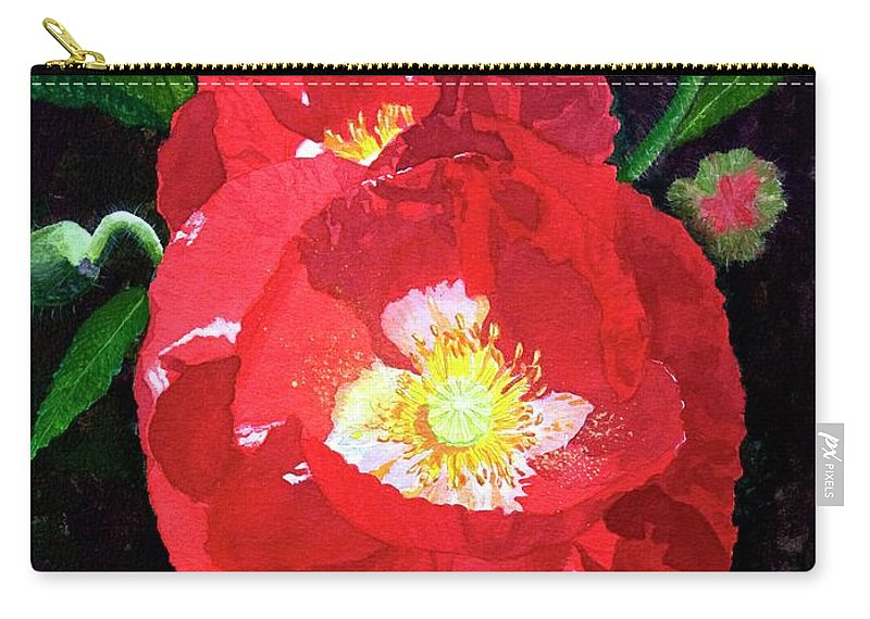 Flower Carry-all Pouch featuring the painting Red Poppies by Mike Robles