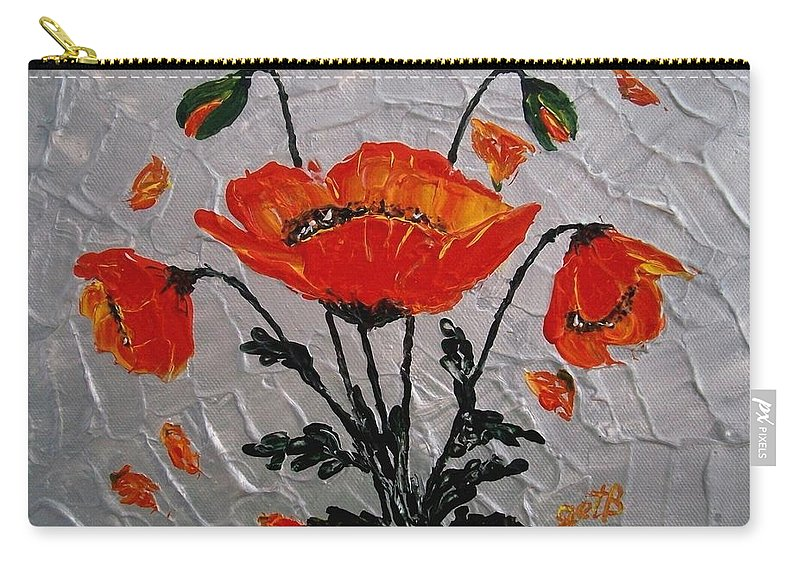 Red Poppies Carry-all Pouch featuring the painting Red Poppies Original Palette Knife by Georgeta Blanaru