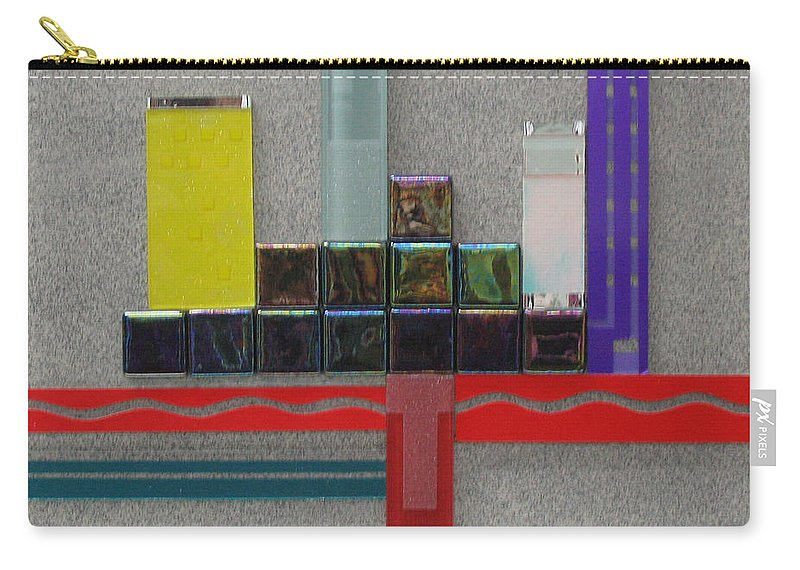 Assemblage Carry-all Pouch featuring the relief Red River City by Elaine Booth-Kallweit