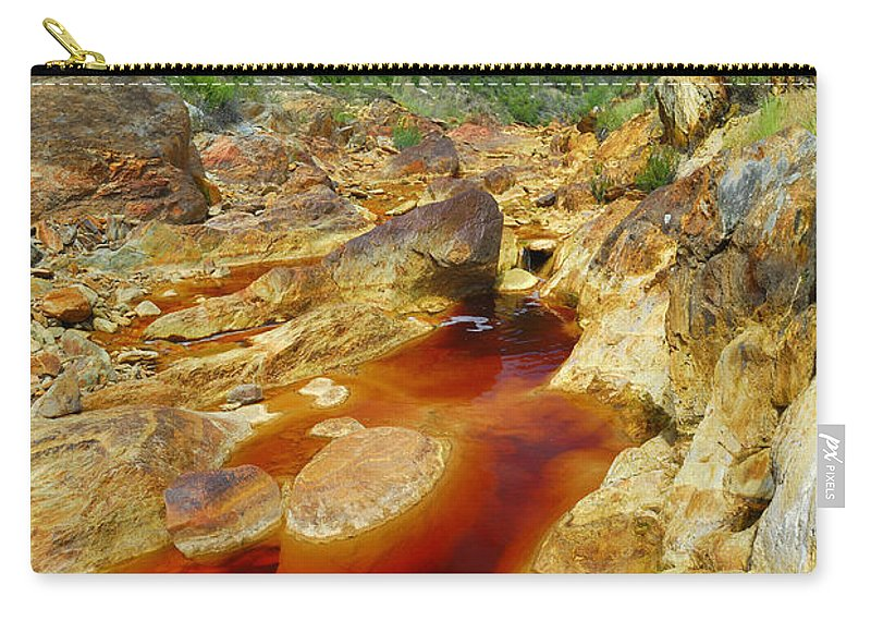 Red Carry-all Pouch featuring the photograph Red River Huelva by Guido Montanes Castillo