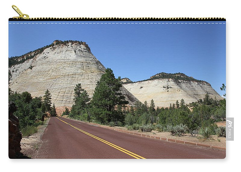 Checked Carry-all Pouch featuring the photograph Red Road At Checkerboard Mesa by Christiane Schulze Art And Photography