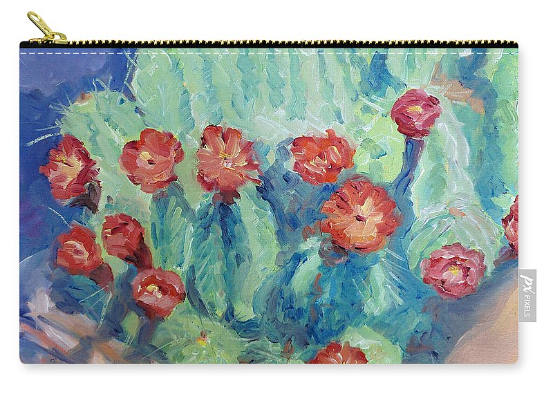 Cactus Carry-all Pouch featuring the painting Red Rock Beauty by Sarah Sheffield