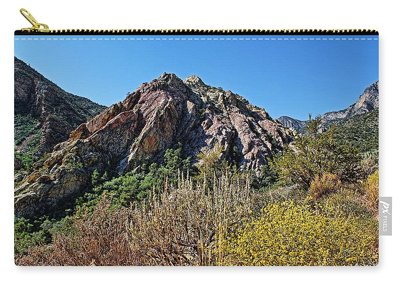 Red Rock Canyon Carry-all Pouch featuring the photograph Red Rock Canyon With Foliage by Judy Vincent