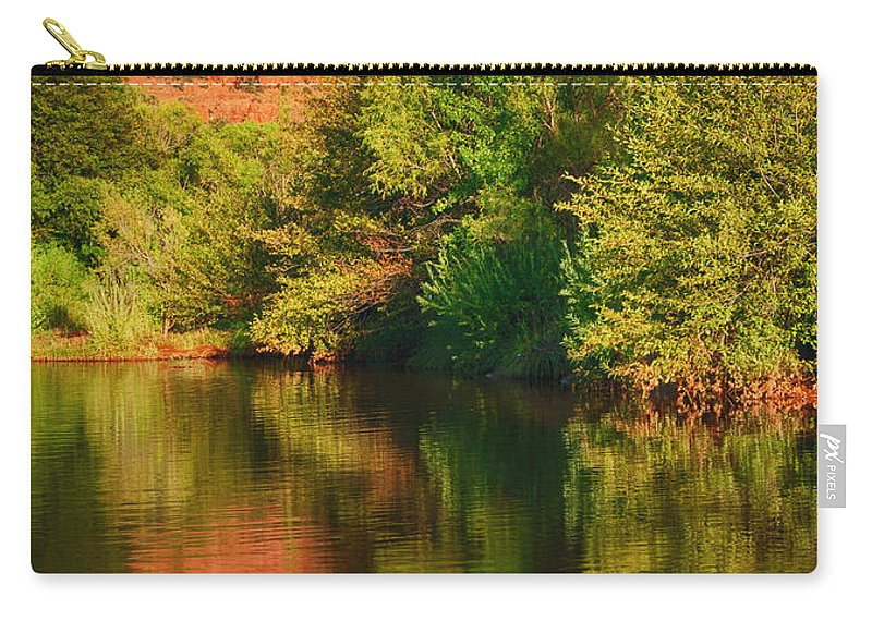 Oak Creek Carry-all Pouch featuring the photograph Red Rock Reflection by Claudia Kuhn