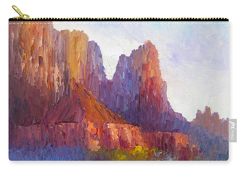 The Watchman Carry-all Pouch featuring the painting Red Rock Ridge by Terry Chacon