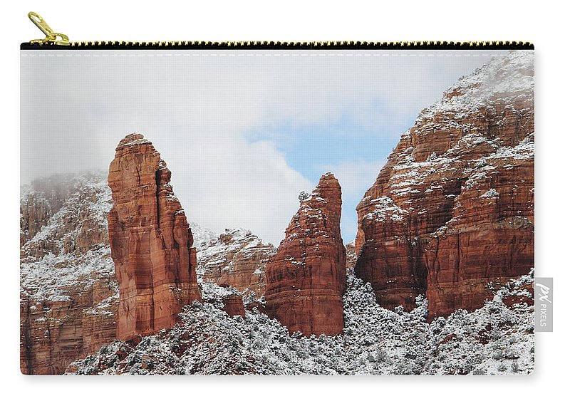 Scenics Carry-all Pouch featuring the photograph Red Rock Snow Sedona by Sassy1902