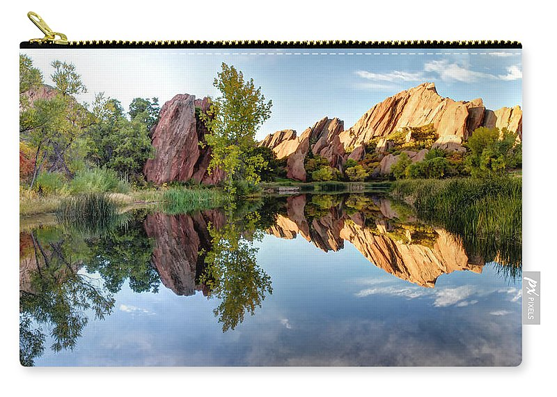 Red Rocks Carry-all Pouch featuring the photograph Red Rocks Reflection by OLena Art Brand