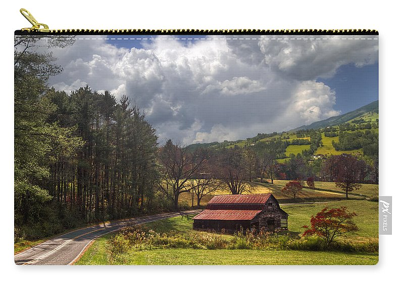 Appalachia Carry-all Pouch featuring the photograph Red Roof Barn by Debra and Dave Vanderlaan